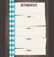 octoberfest background for beer table menu vector image