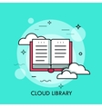 Online library flat design thin line banner vector image vector image