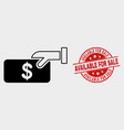 pay cash icon and scratched available for vector image vector image