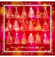 red brightness background with forest of christmas vector image