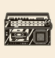 retro cassette recorder with radio receiver vector image