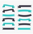 ribbons decoration set in black and turquoise vector image vector image