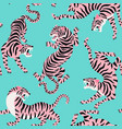 seamless pattern with cute tigers on vector image vector image