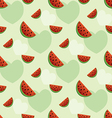 seamless pattern with watermelon and hearts vector image
