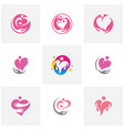 set of love hearth care logo concept love people vector image vector image