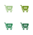 Set of paper stickers on white background cart vector image vector image