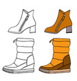 set of warm female half-boot vector image