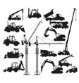 silhouettes construction vehicles vector image