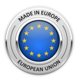 Silver medal Made in European Union EU with flag vector image vector image