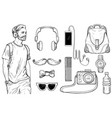 sketch of hipster man and men s accessories set vector image vector image