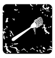 Spaghetti on a fork icon grunge style vector image vector image