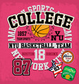 sport college training typography t-shirt graphics vector image vector image