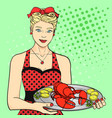 the hostess the cook the waiter in red serves vector image vector image