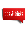 tips tricks red 3d speech bubble vector image vector image