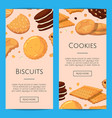 vertical web banners with cartoon cookies vector image