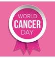 World Cancer Day Pink ribbon vector image