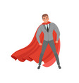 young confident business man with red superhero vector image vector image