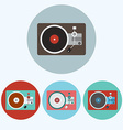 Record Player colorful icon set vector image