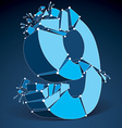 Abstract 3d faceted blue number 9 with connected vector image vector image