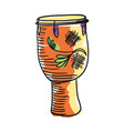 african tam tam drum hand drawn icon vector image vector image