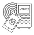 approved terminal payment icon outline style vector image vector image