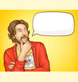 bearded man in fashioned clothes and speech bubble vector image vector image