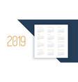 calendar 2019 year planner design calendar 2019 vector image