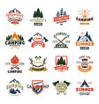 camping logo badges and travel template hand drawn vector image