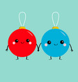 christmas ball toy icon set love couple holding vector image