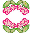 colorful heart flower plant border vector image vector image