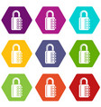 combination lock icons set 9 vector image vector image