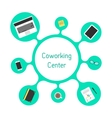 concept of coworking center with green bubble vector image