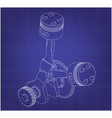 crankshaft and two pistons on a blue vector image vector image