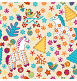 cute seamless christmas pattern with horses birds vector image vector image