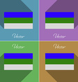 Flags Komi Set of colors flat design and long vector image vector image