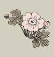Floral bush retro on gray background hand drawn vector image vector image