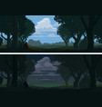 forest edge landscape at evening and night vector image