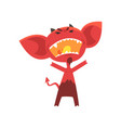 furious red devil with horns big ears and tail vector image