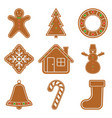 gingerbread christmas cookies vector image vector image