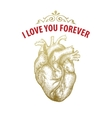 Gold Vintage heart Valentine day card Typography vector image
