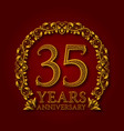 golden emblem of thirty fifth years anniversary vector image vector image