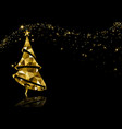 golden triangle christmas tree background vector image