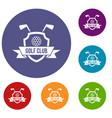 golf club emblem icons set vector image vector image