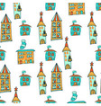 hand drawn houses in doodle styleseamless pattern vector image vector image
