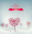 holiday retro background valentine trees vector image vector image