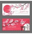 Japan Sakura Horizontal Banners Set vector image vector image