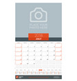 july 2018 wall monthly calendar planner for 2018 vector image vector image