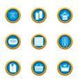lather icons set flat style vector image