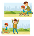 learning to ride a bike vector image