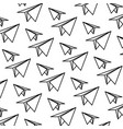 line paper plane origami design background vector image